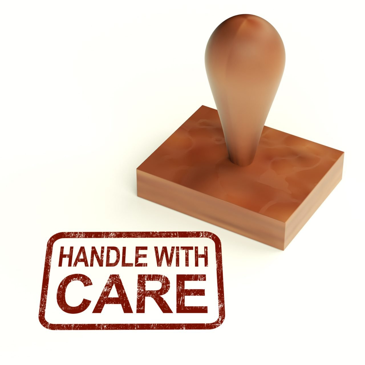 Product care, handle with care stamp