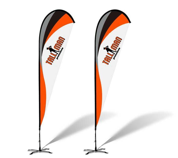 Teardrop banner flag tall man promo 1 source for for Teardrop flag template
